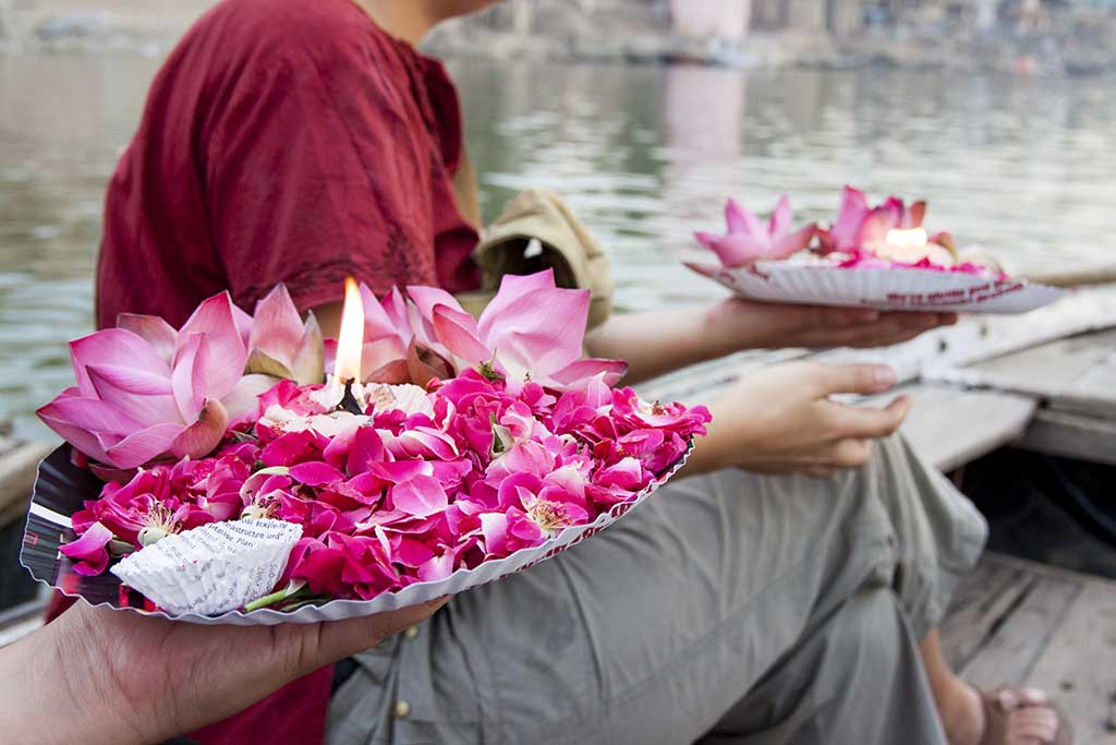 Gift for the dead people in Ganga River. Varanasi. India.